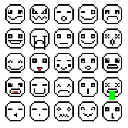 SET OF EMOTIONS SET OF EMOJI SMILE ICONS SMILE PIXEL SMILE RETRO SECOND SET BLACK AND WHITE