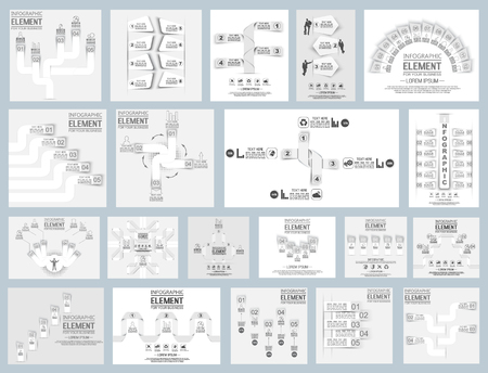 MEGA COLLECTION OF TWENTY ORIGAMI ELEMENT FOR INFOGRAPHIC  TEMPLATE GEOMETRIC FIGURE WHITE