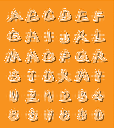 Alphabet in modern style with distorted letters with shading orange