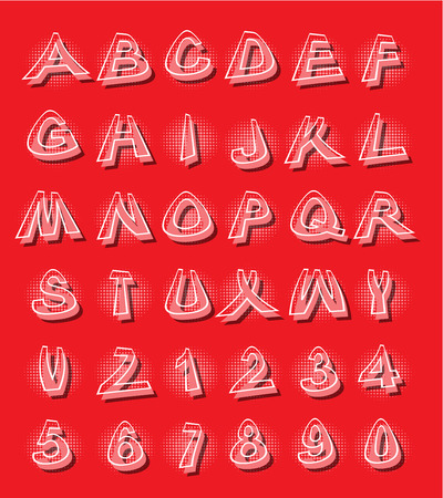 Alphabet in modern style with distorted letters with shading red