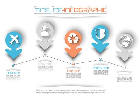 TIMELINE INFOGRAPHIC NEW STYLE  9 BLUE Illustration