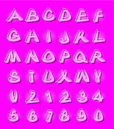 Alphabet in modern style with distorted letters with shading  violet Illustration