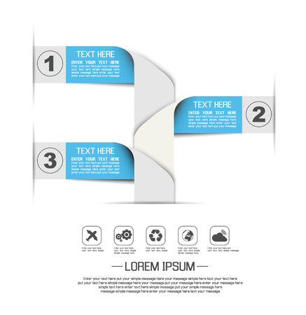 STIKER TEMPLATE OPTION NUMBER BANNERS HORIZONTAL CUTOUT LINES SECOND EDITION BLUE Illustration