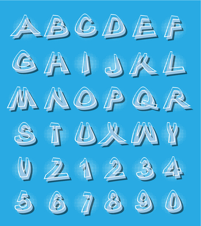 Alphabet in modern style with distorted letters with shading Illustration