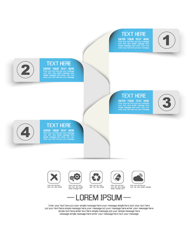 STIKER TEMPLATE OPTION NUMBER BANNERS HORIZONTAL CUTOUT LINES THIRD EDITION BLUE Illustration