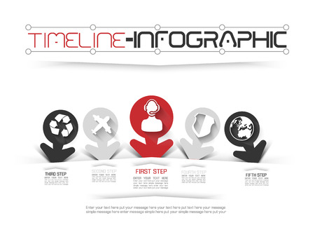 calendar design: TIMELINE INFOGRAPHIC NEW STYLE  11 RED Illustration