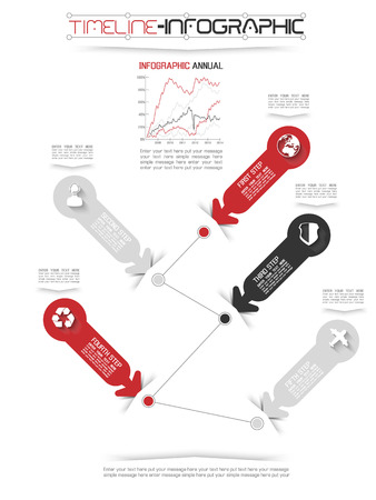 TIMELINE INFOGRAPHIC NEW STYLE  18  RED Illustration