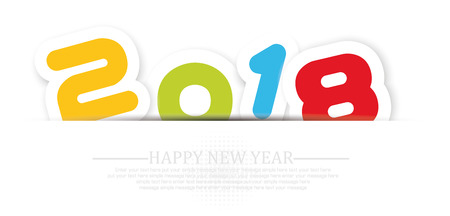 crisscross: 2018 Happy  new year background with shadow Illustration