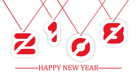 2018 happy new year written hanging with string