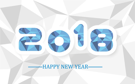 2018 happy new year  simple writing low poly