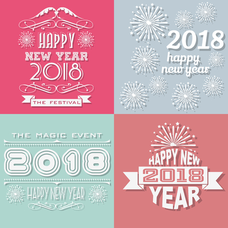 2018 happy new yearwritten retro style vintage