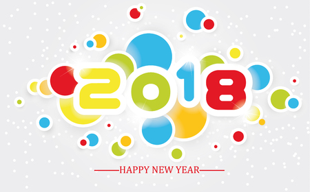 2018 Happy New Year simple writing multicolour with shading