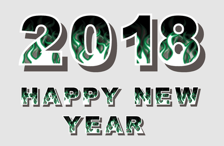 2018 happy new year flames style green Ilustracja