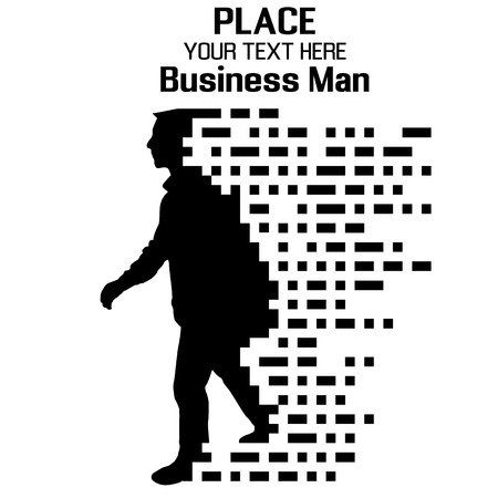 Business Man, particle divergent composition, vector illustration Ilustracja