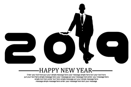 2019 happy new year businessman Ilustracja
