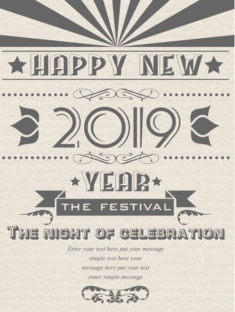 2019 HAPPY NEW YEAR FLAYER VINTAGE RETRO POSTER