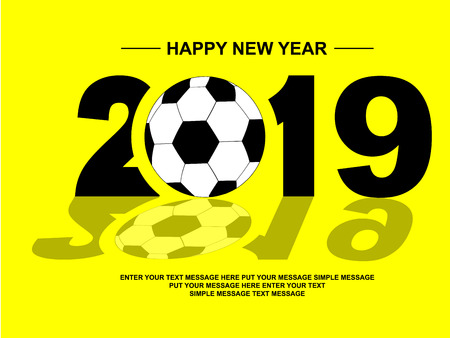 2019 HAPPY NEW YEAR FOOTBALL Ilustracja