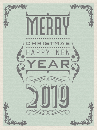 2019 HAPPY NEW YEAR VINTAGE RETRO SECOND EDITION Ilustracja