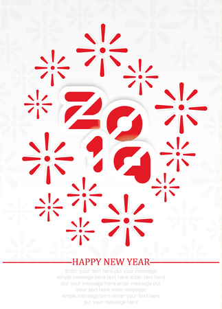 2019 Happy  new year background with fireworks red Ilustracja