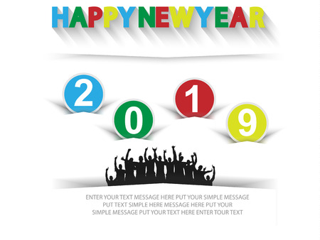 2019 HAPPY NEW YEAR CELEBRATIONS WITH PEOPLE Ilustracja