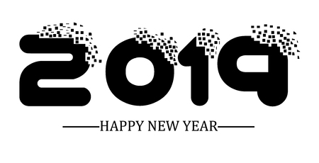2019 happy new year black simple scraps style