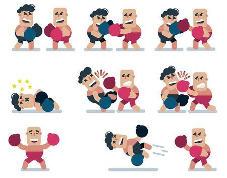 personnages boxe, jeu, plat, icône homme, dessin animé Vecteurs