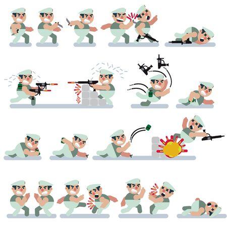 Characters,game,flat,green berret,icon man,cartoon