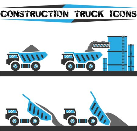 Constructio truck icons set four Illustration