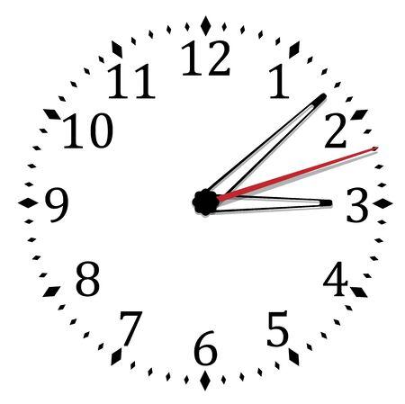 Einfache schwarz-weiße Uhr neunzehnte Ausgabe