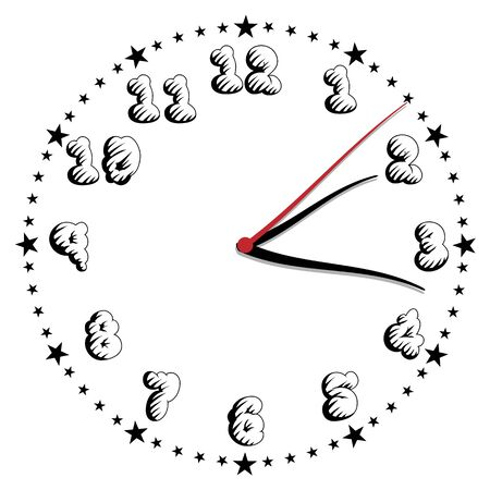 Simple black and white style clock twenty-fourth edition