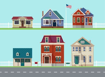 House icon collection. Family house. Flat icons vector house. Double decker. Cartoon house. Street with houses