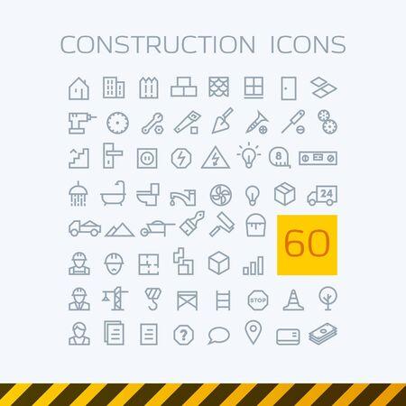 stock vector illustration set contour web icons construction repair tools