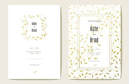Luxurious wedding invitation card. Gold and white. Vector illustration. Ilustração