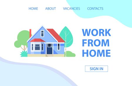 Work from home. Landing page. Vector illustration
