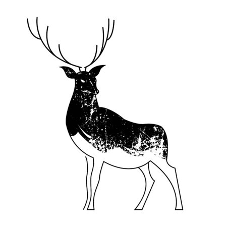 Black and white drawing of a proud reindeer. Vector illustration