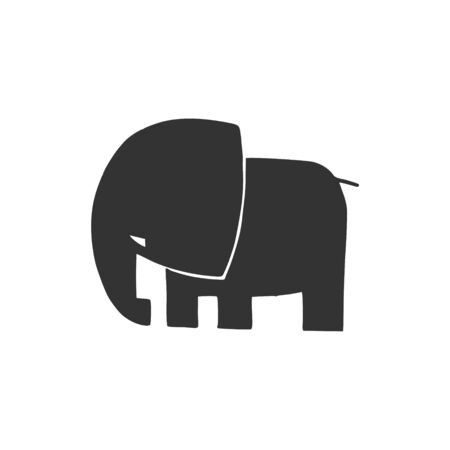 elephant. Black silhouette on a white background. Vector illustration.