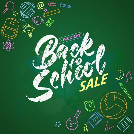 Welcome back to school lettering on chalk board. Colored icons on the theme of education. Banco de Imagens - 149438447