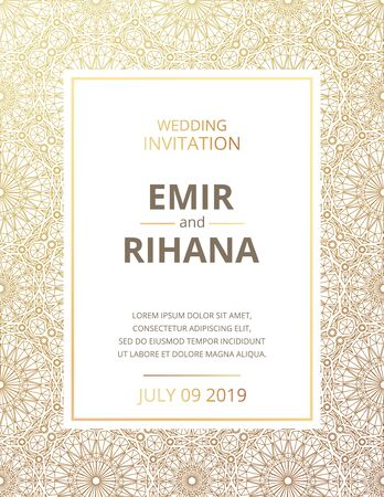 Invitation to a Muslim wedding. Gold pattern. Vector illustration. Template vector.