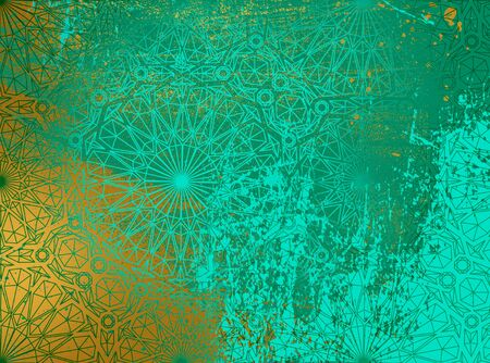 Abstract background Persian ornament. Gold and green. Banco de Imagens