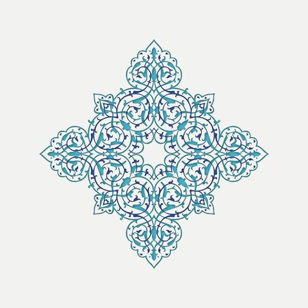 Eastern ethnic ornament. Star. Blue and white. Vector illustration