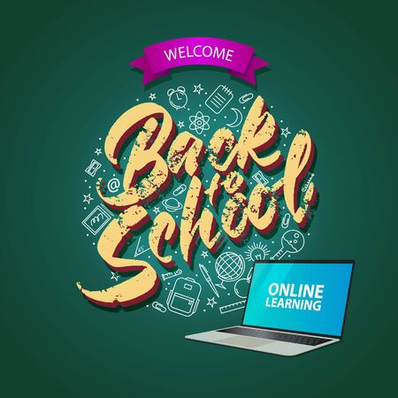 Square banner back to school, online education. Lettering and linear icons. Vector illustration