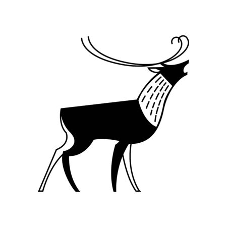 Black and white drawing of a reindeer howling.