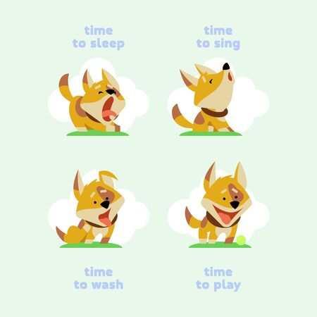 Set of funny puppies in cartoon style. Vector illustration Vettoriali