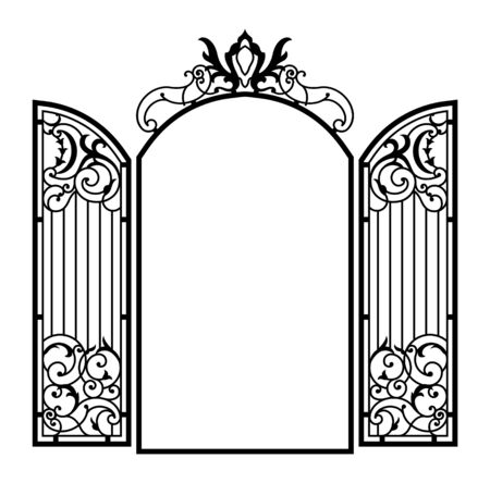 Open Forged Ornate Gate. Vintage style. Vector illustration.