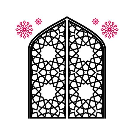 Closed gate with carvings, traditional Islamic ornament. Isolated over white background. Vector illustration.