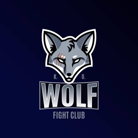 Sports emblem. Wolf with a scar. Vector illustration.