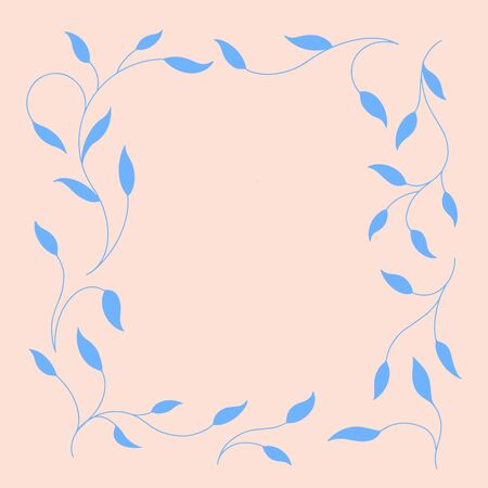 Frame of twigs in a square. Blue branches on a light background. Vector illustration.