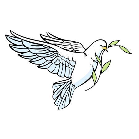 White dove with an olive branch in its beak. Christian plot. Isolated on a white background. Cartoon style. Vector illustration.