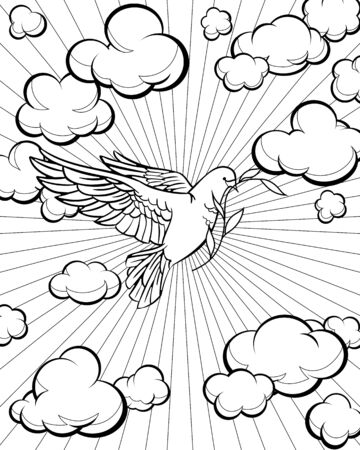 Dove in the sky coloring page. Bible story. Vector illustration. Ilustração