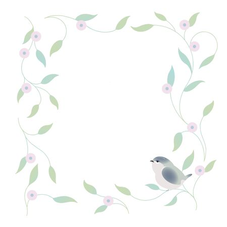 Spring floral frame with a small bird. Vector illustration. Vettoriali